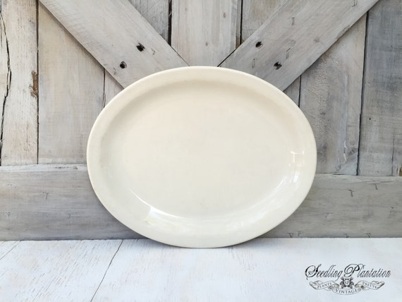 White Ironstone Serving Platter, Ironstone Dishes, Ironstone Plate, Serving Platter, White Dishes, French Country Shabby Chic Farmhouse