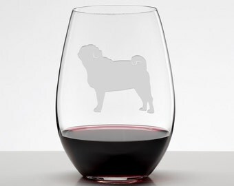 Pug Gift, Pug Wine Glass, Etched Stemless Wineglass