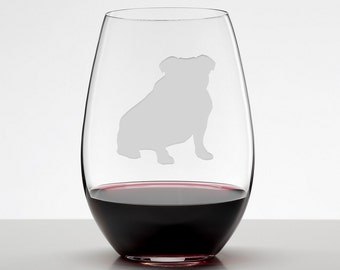 English Bulldog, Bulldog Etched Stemless Wineglass, Wine Glass