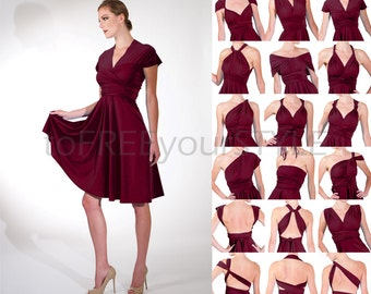 Short convertible dress in BEET RED shiny, FULL Free-Style Dress, convertible bridesmaid dress, infinity wrap dress, short infinity dress