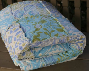 King Size Quilt - Queen Size Quilt - Rag Quilt Bedding - Custom Bed Quilt - King Size Bedding - Rag Quilt - Aqua Bedding - Taupe Bedding