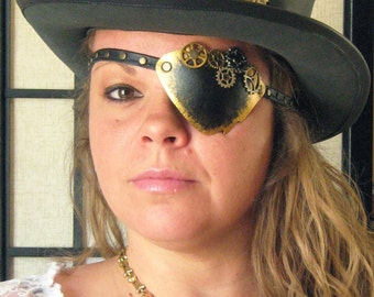 Victorian Steampunk Pirate Airship Captain Industrial Leather Eye Patch Cosplay