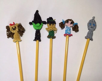 Wizard of Oz puppets, pencil toppers. Dorothy, Tin Man, Lion, Scarecrow, Wicked Witch.