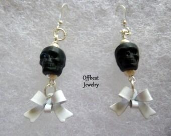 Skull Earrings, Skull and Ribbon Earrings, Ribbon Earrings, Bow Earrings, Skull and Bow Earrings, Gothic Earrings, Halloween Earrings