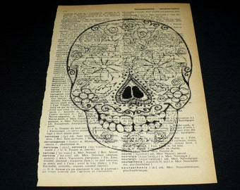 Sugar Skull Dictionary Art Print Home Decor Gallery Wall Vintage Book Page Art Calavera