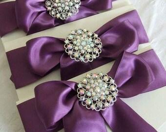 Luxury Wedding Invitation with Crystal Brooch and Satin Bow, Pocketfold Invitation, Wedding Invites
