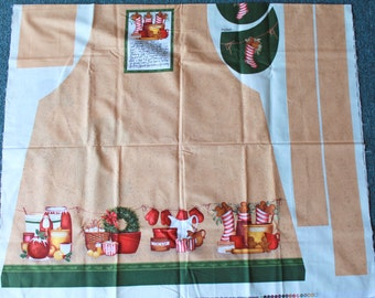 Recipe Traditions Apron by Mary Beth Baxter for Springs Creative Products Vintage Christmas Apron Fabric Panel