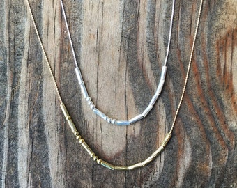 Custom Morse code necklace with twisted beads. You choose your message!