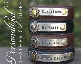 Personalized narrow leather cuff bracelet, custom word bracelet, one little word, metal stamped cuff, Inspirational word, Word of the year