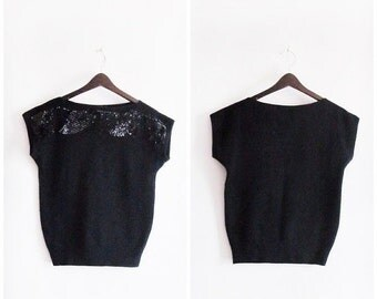 SALE Sparklin' Style // Vintage 70s Blouse // 1970s Black Sequinned T-Top Blouse