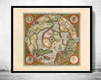 North pole map  Etsy