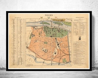 Old Map of Tours France 1890