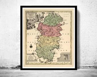 Old Map of Sardinia Sardegna 1720