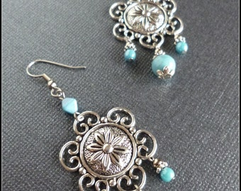 Turquoise Beaded Chandelier Earrings with Flower Connector