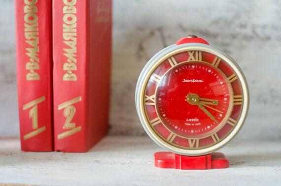 red vintage clock