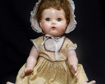 "American Character TINY TEARS Doll HP & Vinyl 15"" (Gold Dot Dress)"