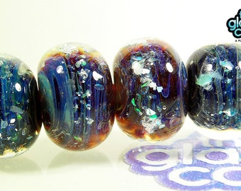 Handmade Borosilicate Glass Beads with Gilson Opals