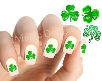 Nail Decals, Water Slide Nail Stickers, St. Patrick's Day, Shamrock