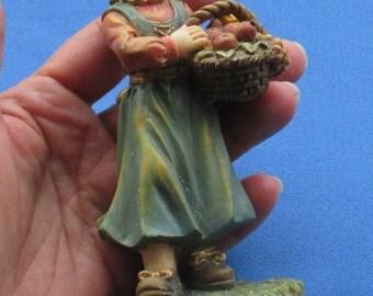 Vintage Harvest Girl Resin Figurine