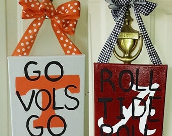 Custom Pro, High School, Middle School, Elementary School, College, Football Pride Hand-Painted Canvas Door Hanger School Team Spirit