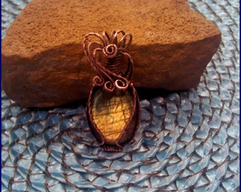 Labradorite Copper  Wire Wrap Pendant PW151