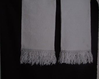 Pair of large vintage damask towels