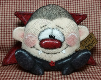 Little Drac Vampire Pattern #195 - Primitive Doll Pattern - Halloween