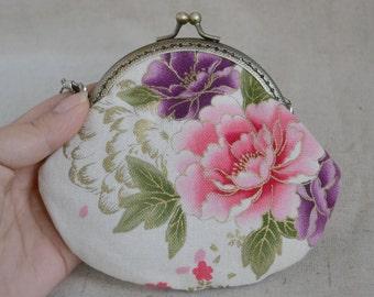 Flower 10mm Metal Frame Clip Purse, Coin Purse,  linen fabric cotton,bowknot,Small clutch,cross body bag