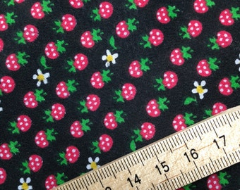 "Summer Strawberry - Polycotton - 44"" Wide Black, Red, Green"