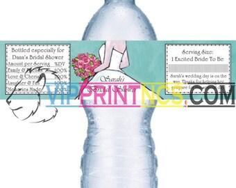 "Custom Water Bottle Self Adhesive Labels 1.5"" x 8.5"" Wedding"