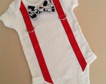 Mickey Mouse Baby Boy Short Sleeve Bow Tie Onesie with Suspenders, Suspender Onesie, Bow Tie Onesie, Baby Boy Bow Tie