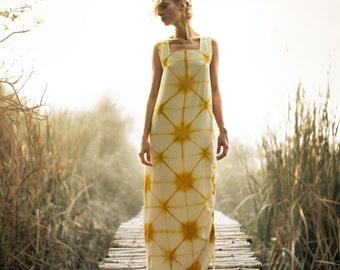 Star shibori silk maxi dress