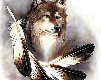 Wolf and Eagle Feathers Cross Stitch Pattern 14 ct. Aida