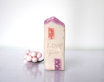 Mini HOUSES  /  Love you / Thank you favor / Wedding Gift / Home Decor / Small House / Ceramic House