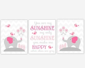 Baby Girl Nursery Art Pink Elephant You Are My Sunshine Birds Baby Nursery Elephant Decor Baby Girl Nursery Decor CHOOSE YOUR COLORS