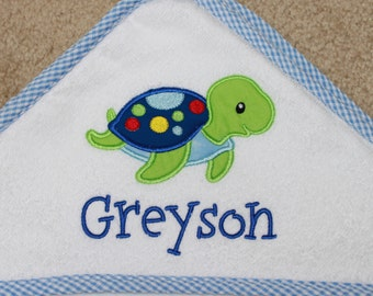 Hooded Bath Towel - Personalized Towel - Baby Bath Towel - Sea Turtle Towel - Monogrammed Towel - Hooded Towel - Shower Gift