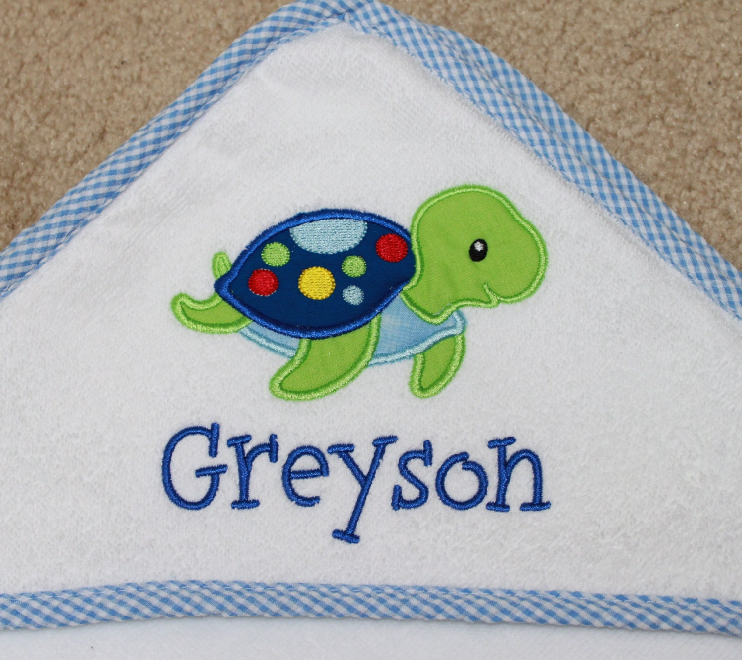 Hooded Bath Towel Personalized Towel Baby Bath Towel Sea