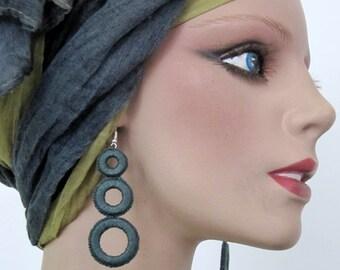 Earrings cotton gray / green