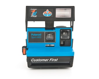 Polaroid Spirit 600 - AMOCO Customer First - Rare Limited Edition Blue 80s Polaroid 600 film tested and working