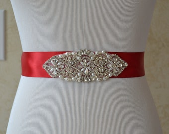 Red Satin Bridal sash-Pearl With Crystal Rhinestone Bridal Sash,Wedding sash