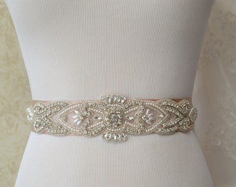 Champagne Wedding Sash- Bridal Sash- Off White Pearls And Crystal Rhinestone Belt