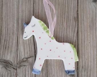 Ready to ship Unicorn,Cute Unicorn Pottery Ornament,Pottery Unicorn,Colorful,Wall decor,Unicorn,Polkadots,Cute Unicorn,Pink,Green,Blue