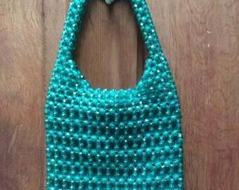 Vintage Green Beaded Purse Bag