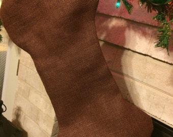 Burlap dog bone stocking, chocolate brown