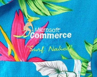 Early Internet Hawaiian Shirt | M L | Mens | Microsoft | Embroidered | Surf Naked | Vintage 90s | Japan | Hipster | Club Kid | Medium Large