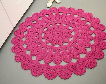 Area rug floor mat large round floor rug crochet carpet doily rug round mat fuchsia pink crochet rug wedding gift nursery rug gift hostess