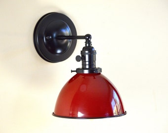 Wall Sconce Lighting with Red Metal Dome Shade
