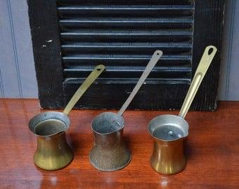 Turkish Coffee Pots 3 Rustic Greek Coffee Pots European Coffee Pots Rustic Brass Coffee Pots Coffee House Decor I Ship Globally