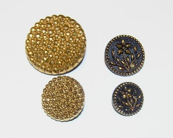 """Two Pairs of Vintage Black Glass """"Mother-Daughter"""" Buttons with Gold Luminescense"""