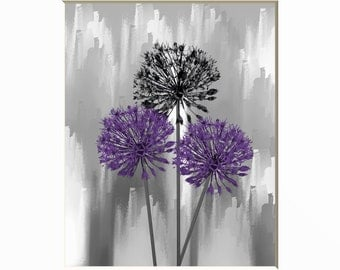 Purple Wall Art Decor, Purple Gray Modern Floral Home Decor Matted Wall Picture